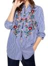 Neue Art und Weise Frauen-Blumen gestickte Bluse mit langen Ärmeln Buttoned gestreiften Hemd Blau