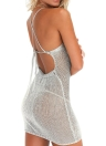 Sexy Sheer Knitted Strap Halter Cross Backless Women's Beach Cover Up Mini Dress