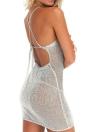 Mulheres Sexy Sheer Knit Vestido Strap Halter Criss Cross Backless Praia Cover Up Partido Nightclub mini vestido rosa / cinza