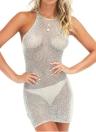 Сексуальные женщины Sheer вязать платье ремень Холтер Criss Cross Backless Пляж Cover Up Party Ночной клуб Мини платье розовый / серый