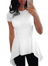 Fashion Women Irregular Peplum Hem O-Neck Short Sleeve Slim T-shirt causal