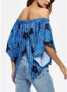 Vintage Stripe Off Shoulder Elastic Cross Asymmetric Women's T-shirt
