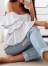 Striped Off Shoulder Flounce Blouse