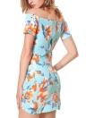 Women Floral Off the Shoulder Slash Neck Ruched Short Sleeves Zipper Dress