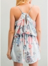 Sexy Mujeres Halter Floral Imprimir V-cuello sin mangas Backless Casual Jumpsuit