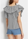 Ruffle camisa listrada mangas curtas casuais blusa das mulheres elegantes