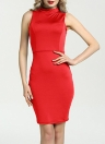 Sexy Bandage  Solid High Neck Sleeveless Cut Out Back Women's Pencil Dress