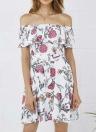 Vintage Floral Print Off Shoulder  Belted Casual A-Line Women's Mini  Dress