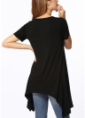 Estate Asimmetrica V Neck Short Sleeve Solid Loose Casual Donna T-Shirt