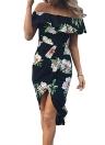 Verano sexy Boho de vestido de las mujeres acanaladas Asymmetric de la impresión floral del hombro