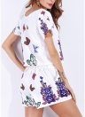 Fashion Floral Butterfly Print O-Neck Elastic Waist  Women Two Pieces Set