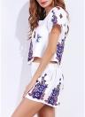 Moda Floral Butterfly Print O-Neck Elastic Waist Mulheres Duas Peças Set