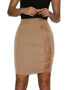 Sexy Lace-Up Hollow Out Bandage Haute taille Femme Bodycon Jupe
