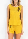 Moda casual conjunto de 2 piezas florales bordados O-cuello sin mangas de las mujeres conjuntos
