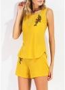 Модные повседневные 2 шт. Набор цветочных вышивок O-образным вырезом без рукавов Женские наборы