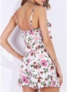 Sexy V Neck Tie Sleeveless Floral Ruffles Women's Two Piece Set