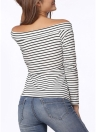 Fashion Off Shoulder Stripe Long Sleeve Slim Women's T-Shirt