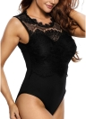 Sexy Lace Round Neck Cut Out Back Sleeveless Padded Women's Bodysuit