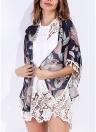 Chiffon Cardigan Stampa Floreale Fringed Nappe Kimono Donna