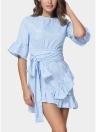 Women Ruffles Striped Flare  Waist Strap Asymmetrical Mini Shirt Dress