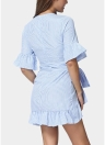 Mulheres Ruffles Striped Flare Cintura Strap Asymmetrical Mini Shirt Dress