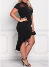 Sexy  Mesh Splice Ruffles Irregular hem  Women's  Plus Size Dress