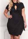 Sexy Knitted Cutout Front Asymmetric  Bodycon Women's Plus Size Dress