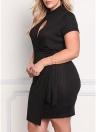 Sexy Knitted Cutout Front Asymmetric Bodycon Women's Plus Size Dress