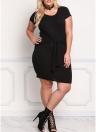 Moda Cintura Strap O Neck mangas curtas Bodycon Women's Plus Size Dress