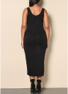 Sexy Deep V Neck Ärmellos Asymmetric Bodycon Frauen Plus Size Kleid