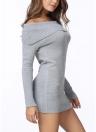 Зимние женщины с плеча трикотажные Bodycon платье