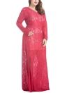 Vestido Maxi com renda feminina com tamanho grande com decote em V