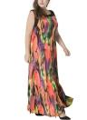 Женщины плюс размер чешского рукавов Плиссированные Maxi платье