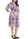 Summer Sexy V Neck Floral Print Midi Dress Ruched Women's  Plus Size Dress