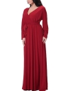 Sexy V Neck Long Sleeve Solid Belted Cocktail Women's Plus Size Dress