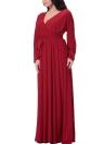 Sexy V-Ausschnitt Langarm Solid Gürtel Cocktail Frauen Plus Size Kleid