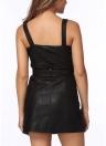 Sexy PU Leather Strappy Backless Belt Zipper Women's Club Dress