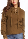 Lace-Up Knit Sweater V Neck Long Sleeves Ribbed Cuffs Hem Women's Pullover
