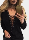 Lace Up T-Shirt Deep V-Neck Hollow Out Top Long Sleeve Eyelet Casual Basic Top