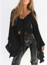 Women Crop Top V  Neck  Long Flare Sleeve Ruffle Petal  Blouse