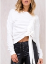 Sexy Women  Slim Crop Top Long Sleeve Drawstring T-Shirt