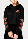 Autumn Fashion Women Embroidery Crop Hoodie