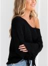Maglione lavorato a maglia a spalla fredda sexy da donna