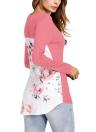 Stampa floreale a croce V collo maniche lunghe T-shirt donna asimmetrica