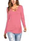 T-shirt asymétrique pour femmes à imprimé floral imprimé à manches longues
