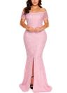 Модные женщины Split Hem Back Maxi Off Плечевое кружевное платье