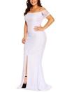 Moda Mulheres Split Hem Voltar Maxi Off Shoulder Lace Dress