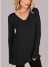 Suéter de manga larga acanalado con cuello en V y encaje