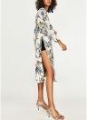 Femmes Fleur Imprimer Sash Kimono Chemise Rétro Bandage Cardigan Blouse Top