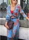 Capispalla etnico orientali con stampa a girocollo, stampa floreale con collo a farfalla vintage Kimono da donna
